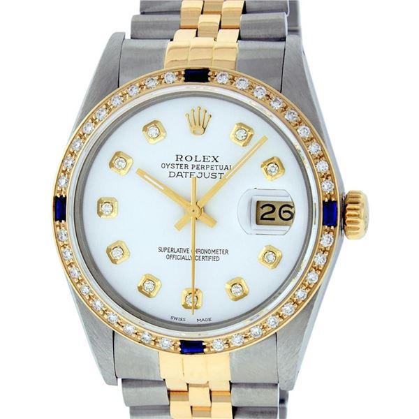 Rolex Mens 2 Tone White Diamond & Sapphire 36 Datejust Oyster Perpetual Wristwat