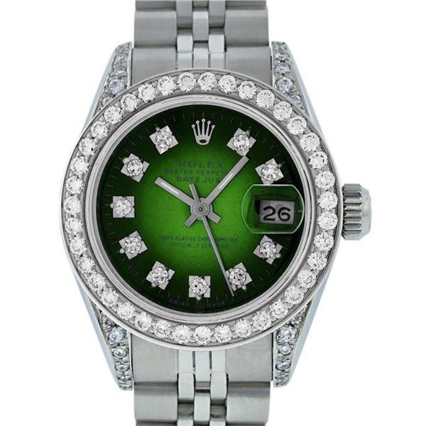 Rolex Ladies Stainless Steel Green Vignette Diamond Lugs & Datejust 26MM