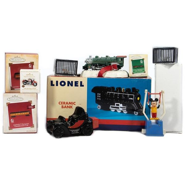 Hallmark Train Items, circus cages, Lionel Bank & more