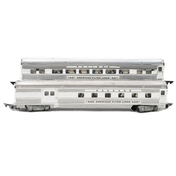American Flyer 660 Combine and 661 Coach - Chrome