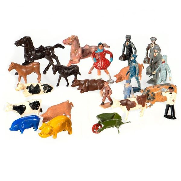 O/S Plasticville parts and die cast and plastic animals and people