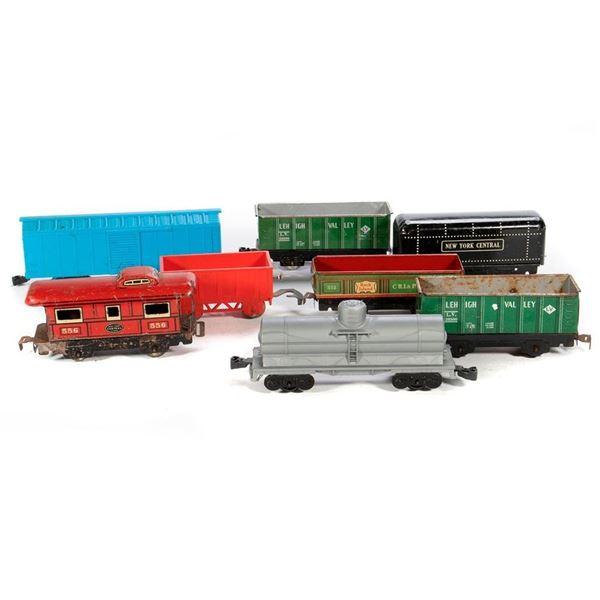 O Gauge Marx (7) 4 wheel freight cars & (2) tenders