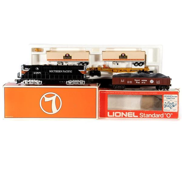 O Gauge Lionel 6-18576 Dummy SP GP9, 6-9821 SP Gondola with load, 6-16345 SP TTUX with trailers all