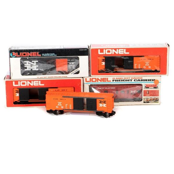 O Gauge Lionel (3) 6-9719 New Haven Box Car (2) with original boxes, 6-19218 New Haven Box Car and a