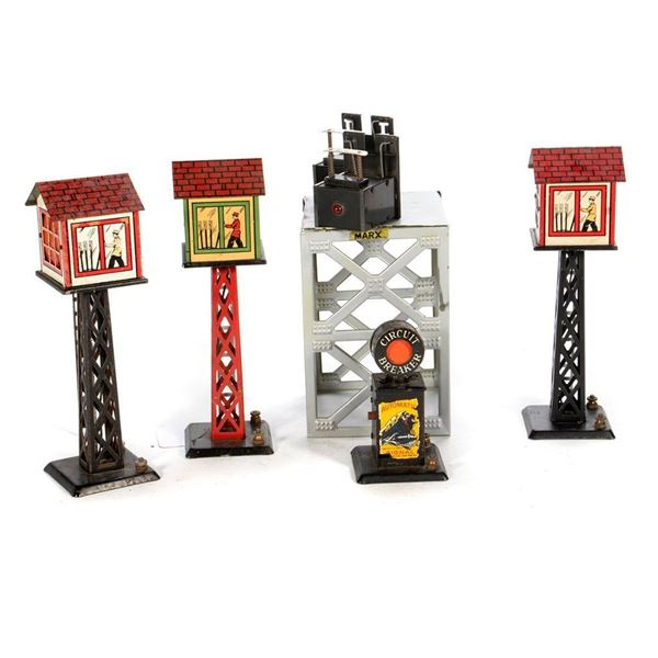 O Gauge Marx Control Towers, Bumpers, Circuit Breaker and Tower