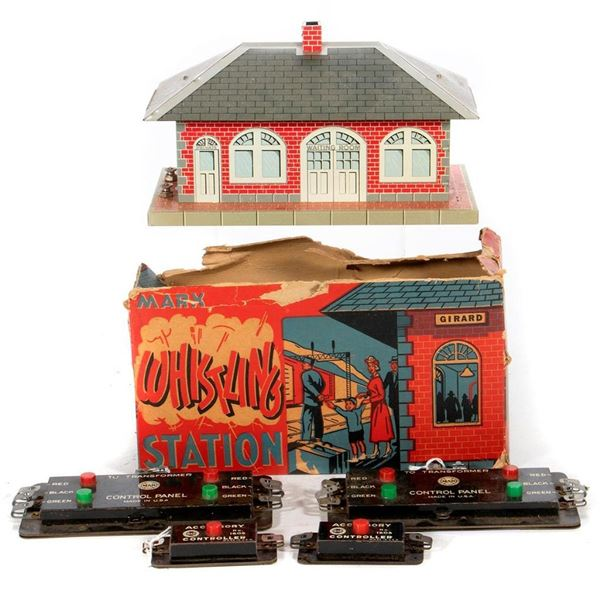 O Gauge Marx Whistling Station and switch and accessory controllers