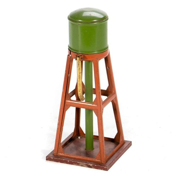 O Gauge Lionel 93 Water Tower with green tank and stand pipe, terra cotta framework, gold spout, red