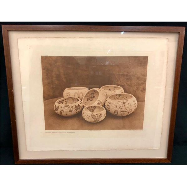 Edward Curtis Photogravure - Modern Designs in Washo Basketry 1924