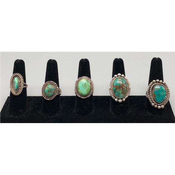 Group of Five Vintage Turquoise Rings