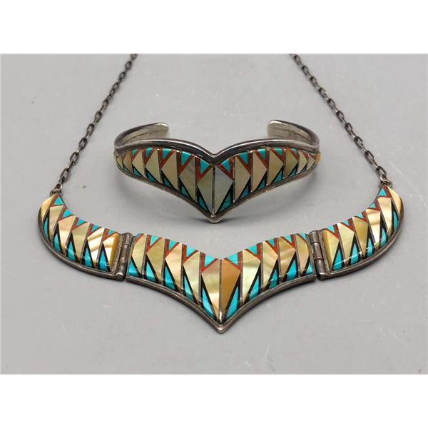 Zuni Inlay Necklace and Bracelet Set