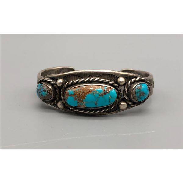 Gorgeous Vintage Three Stone Turquoise Bracelet