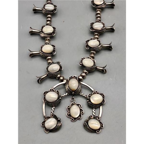 Delightful Mother of Pearl Squash Blossom Necklace