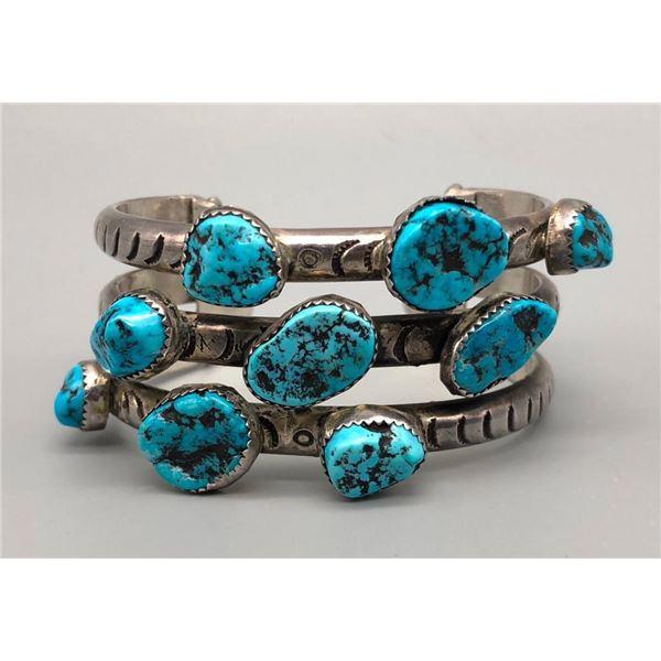 Stylized Three Row Turquoise Bracelet