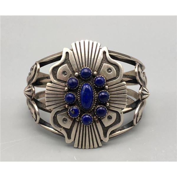 Lapis and Sterling Silver Cluster Bracelet