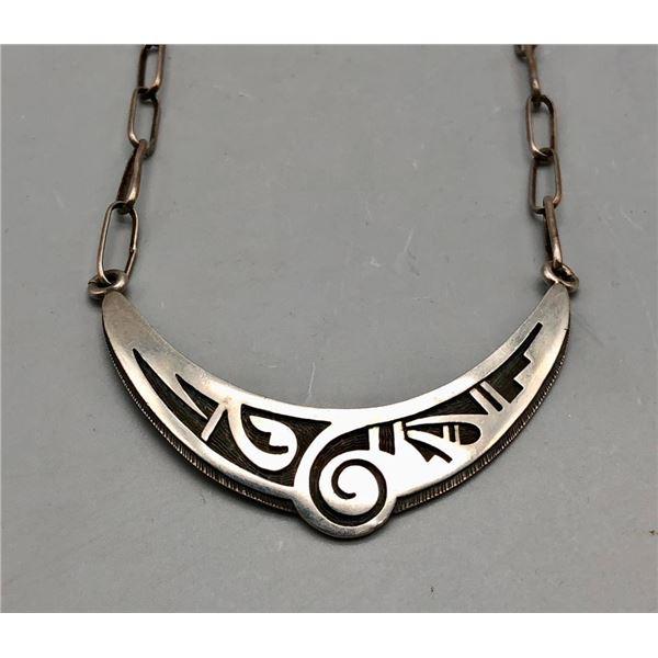 Elegant Hopi Overlay Pendant and Handmade Chain