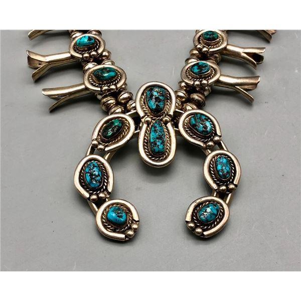 Vintage Turquoise Squash Blossom Necklace