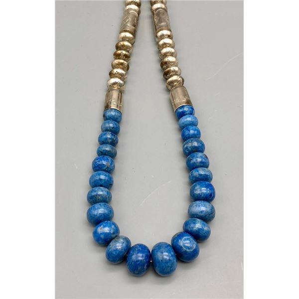 Statement Lapis and Sterling Silver Bead Necklace