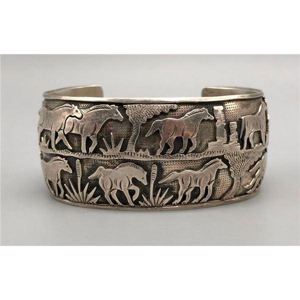 Horse Themed Sterling Silver Overlay Storyteller bracelet