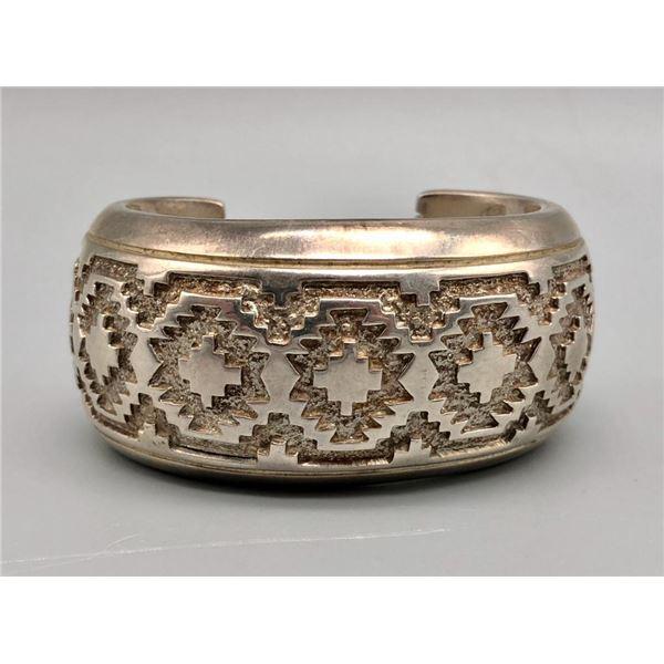Heavy Duty Sterling Silver Bracelet with Rug Pattern