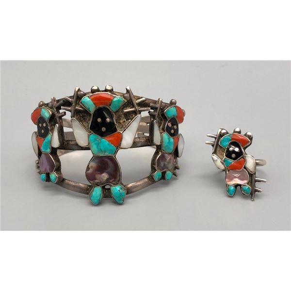 Colorful Vintage Zuni Inlay Bracelet and Ring Set