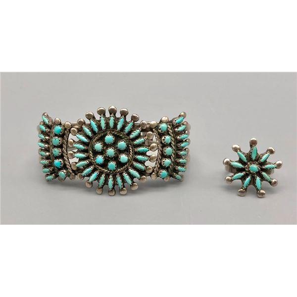 Delightful Vintage Zuni Needlepoint Bracelet and Ring Set