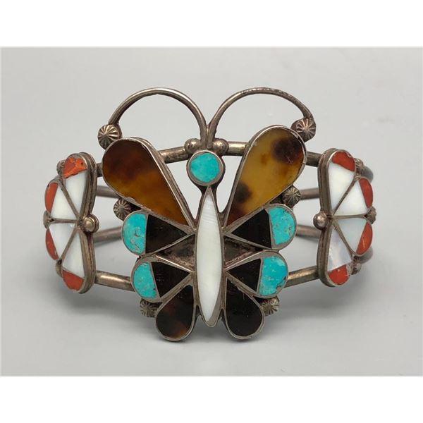 Lovely Zuni Butterfly Inlay Bracelet