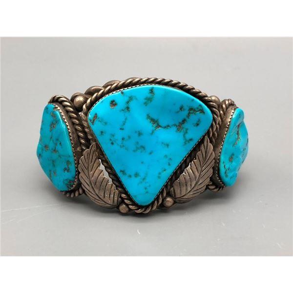 Heavy Duty Vintage Three Stone Turquoise Bracelet