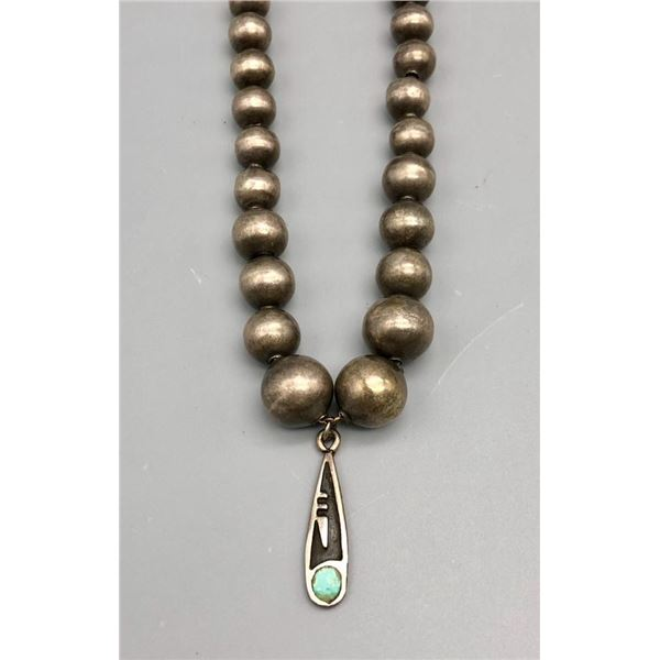 Vintage Sterling Silver Handmade Bead Necklace