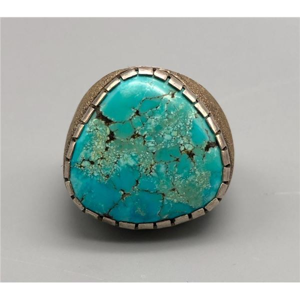Substantial Spiderweb Turquoise and Sterling Silver Ring