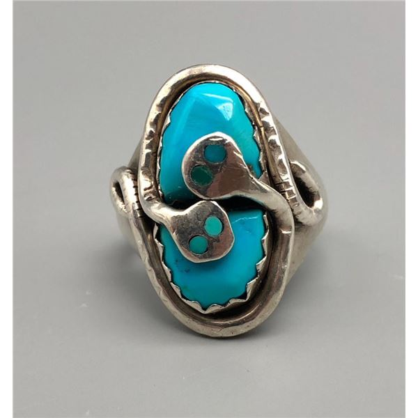 Turquoise Snake Ring by Effie Calavaza