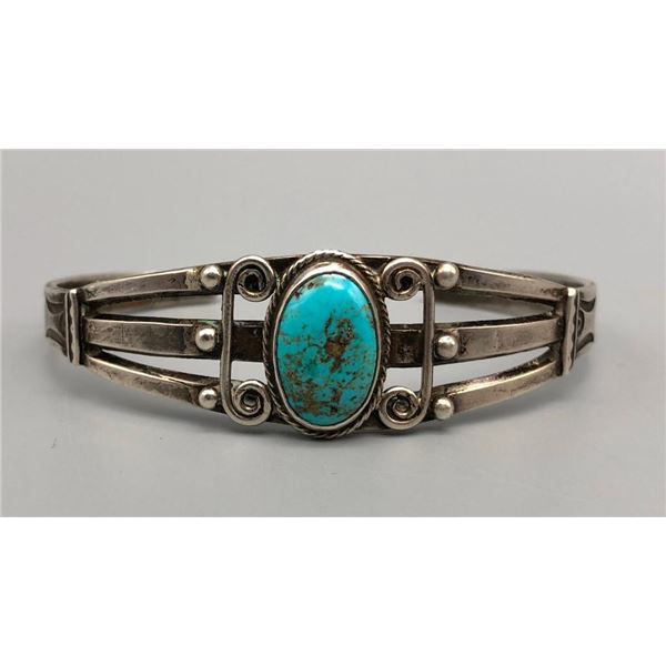 Fred Harvey Era Turquoise and Sterling Silver Bracelet