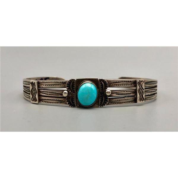 Delightful Fred Harvey Era Turquoise and Sterling Silver Bracelet
