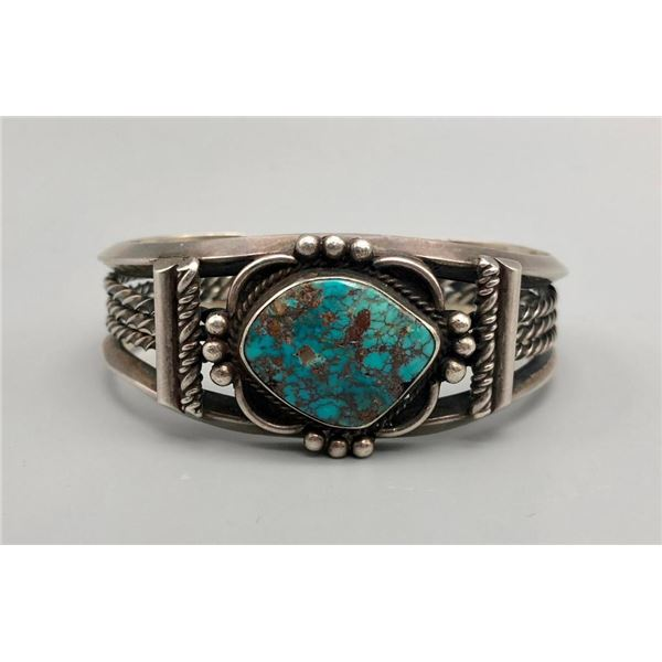 Exquisite Vintage Bisbee Turquoise and Sterling Bracelet