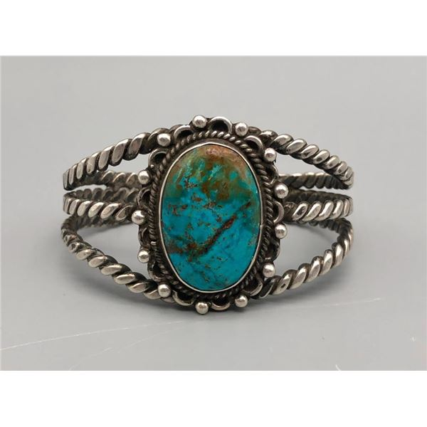 Vintage Sterling Bracelet With A Lovely Turquoise Cabochon
