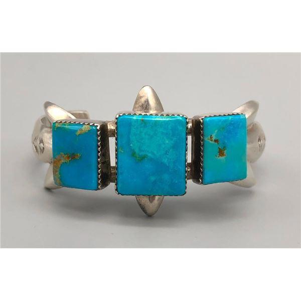 Vintage Sandcast Bracelet with Three Turquoise Stones