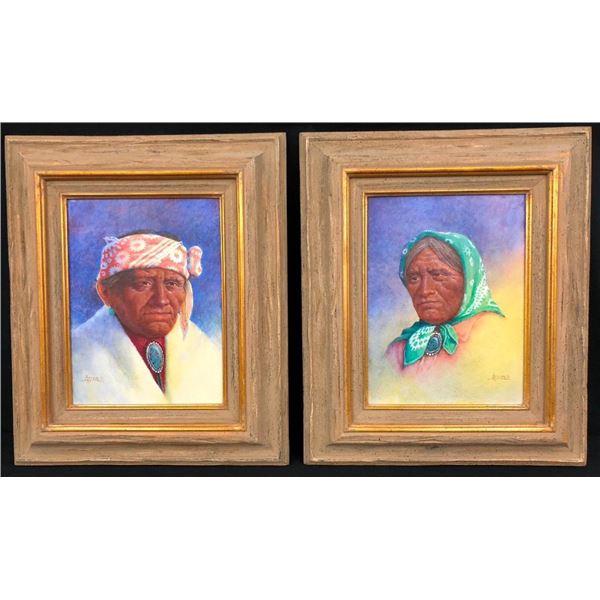 Pair of Jimmy Abeita Original Oil Paintings