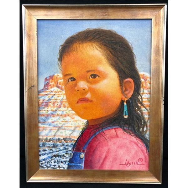 Original Oil Painting of a Small Girl by Jimmy Abeita