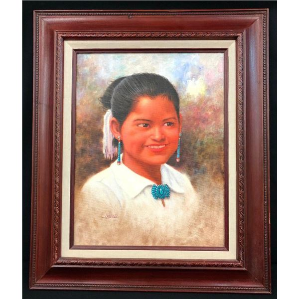 Original Oil Painting by Jimmy Abeita - Young Lady