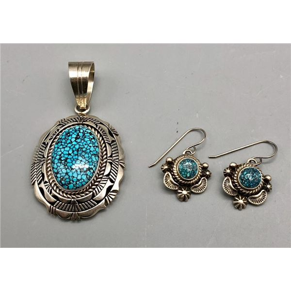 Kingman Spiderweb Turquoise Pendant and Earring Set