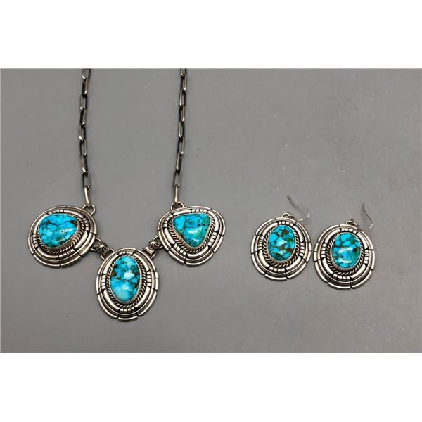 High Grade Turquoise Necklace and Earring Set