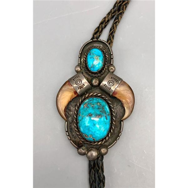 Vintage Claw and Turquoise Bolo