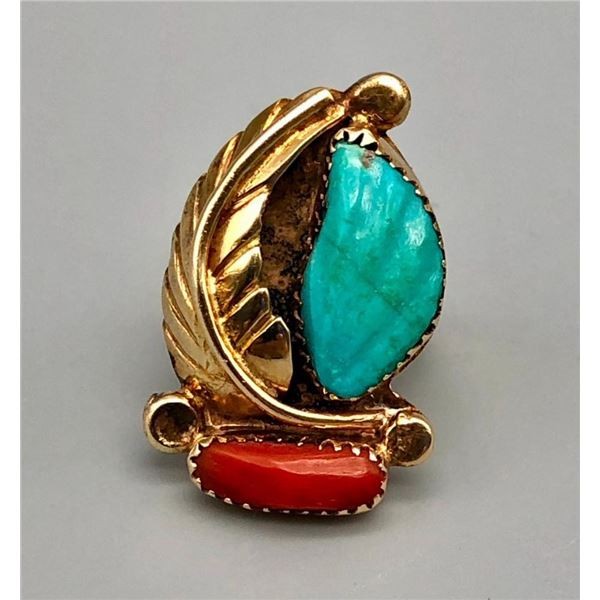 Gorgeous Gold Turquoise And Coral Ring