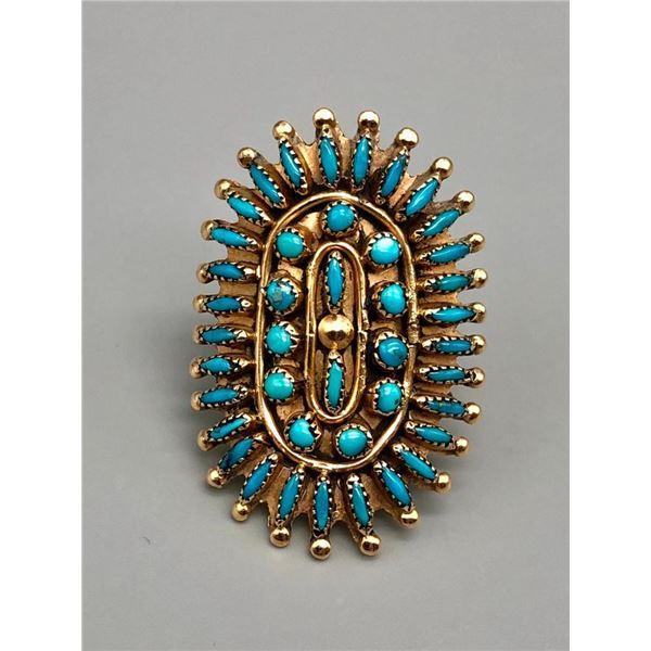 Gorgeous Gold Zuni Needle Point Turquoise Ring
