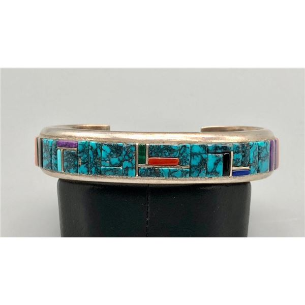 Exquisite Turquoise and Multi-stone Inlay Bracelet