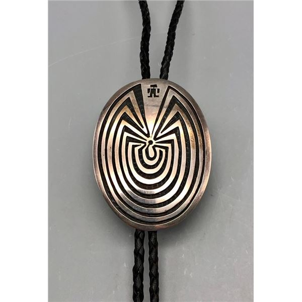 Sterling Silver Overlay Man in the Maze Bolo
