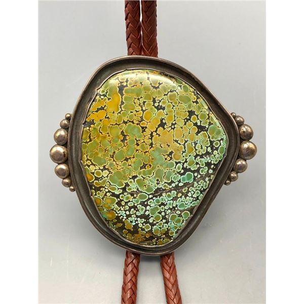 Huge Green Turquoise and Sterling Silver Bolo Tie