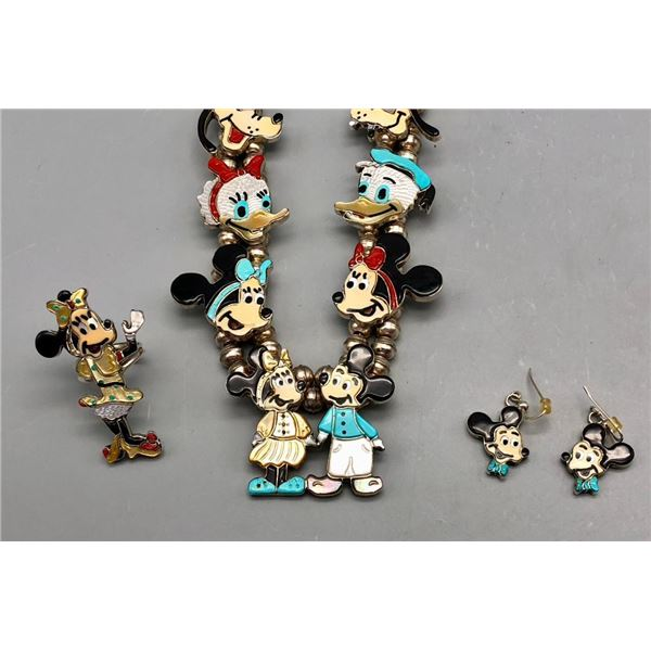Adorable Disney Theme Necklace Earrings and Ring Set