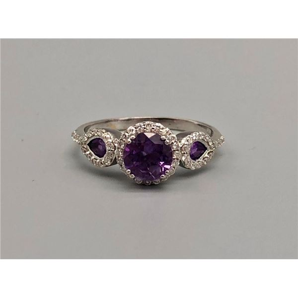 14k White Gold , Diamond, Amethyst Ring