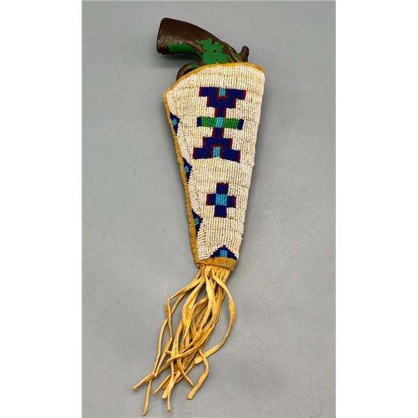 Beaded Holster with Metal Toy Gun