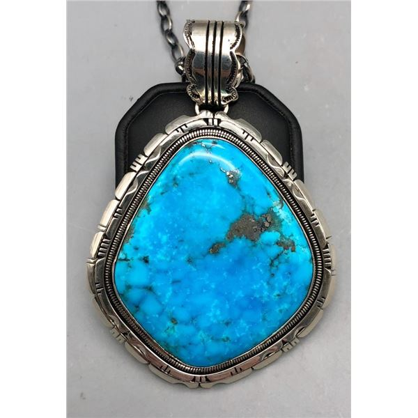 Large Stone Pendant with Handmade Chain